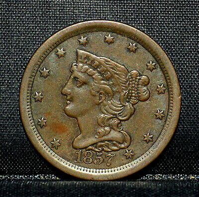 1857 Braided Hair Half-Cent ✪ Xf Extra Fine ✪ 1/2C Scarce Coin T19 ◢Trusted◣