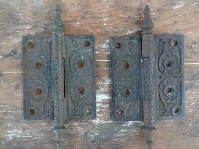 "Antique Victorian Door Hinge Pair Cast Iron Ornate Steeple Tip 4"" x 3 1/2"""
