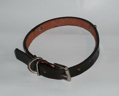 "DOG COLLAR GENUINE 100% LEATHER PERSONALIZED BROWN 19 1/4"" x 3/4"" L HANDMADE USA"