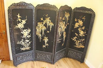 19th C 4 panel Japanese Carved hardwood embroidered  silk screen room divider 6f