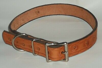 "DOG COLLAR GENUINE 100% LEATHER-HAND STAMPED-PERSONALIZED 25"" x 1"" XL"
