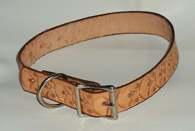 "Dog Collar Genuine 100% Leather 23"" X 1"" L Personalized Handmade Usa"