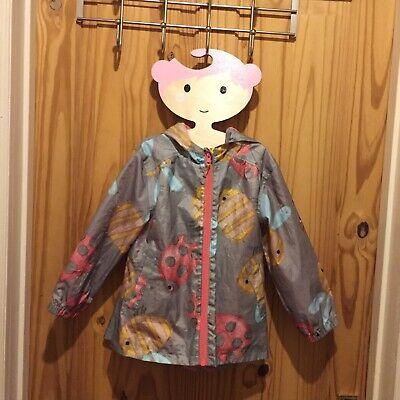 Next Girl's Hooded Raincoat Age 3-4 Years Lined Bee & Ladybird Design Pac-a-mac
