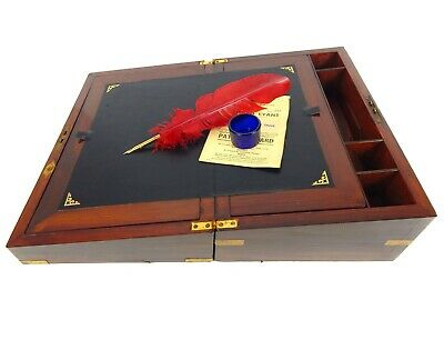 Antique Victorian Campaign Writing Slope Box Cabinet Lap Desk Brassbound Inkwell