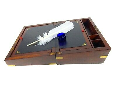 Antique Vintage Campaign Writing Slope Box Cabinet Lap Desk Brass Bound Inkwell