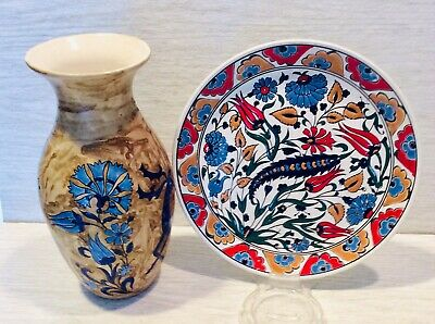 "Neofitoy Keramik, Fauraki Rodos, Set Of Vase 8 3/4"" And Plate 8 1/4 Hand Made"