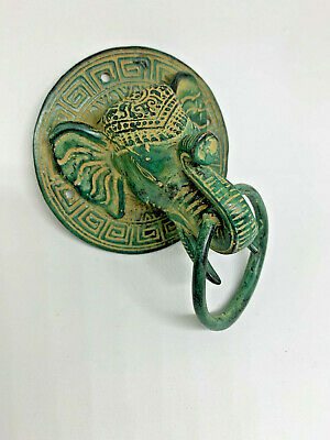 "old style ELEPHANT ring pull solid  brass antique green patina 3.1/2"" trunk"