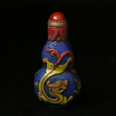 Chinese Exquisite Glass Handmade Dragon Snuff bottle