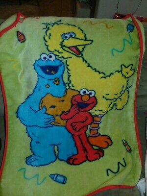 Sesame Street plush throw baby blanket Cookie Monster Elmo and Big Bird