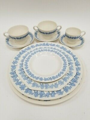 VTG Wedgwood Queensware Embossed Blue Lavender on Cream China Plates Cups Saucer
