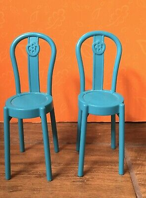 Barbie Set 2  Doll Dining Kitchen Chairs Bar Stools Dreamhouse Furniture Blue