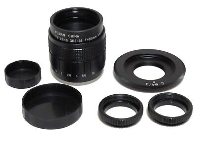 Fujian-35mm f/1.7 CCTV Cine Lens + C-M4/3 Black Magic C Mount to BMPCC MFT Micro