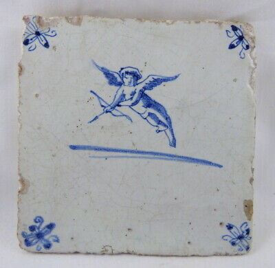 """Antique Blue Delft 5"""" Square Wall Tile Cherub CUPID Bow and Arrow"""