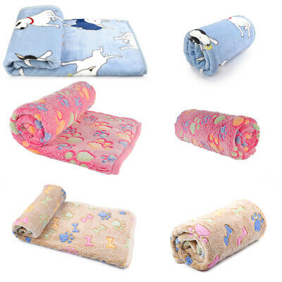 Warm Fleece Pet Blanket Small Large Paw Print Cat Dog Puppy Bed Sofa Mat Cushion