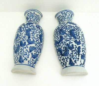 Pair of Blue & White Porcelain Floral Wall Pockets / Planter Vases  aa1