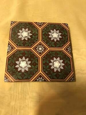 Antique Minton Victorian Encaustic Tile C1840/45 - 6in Square, 1in Deep