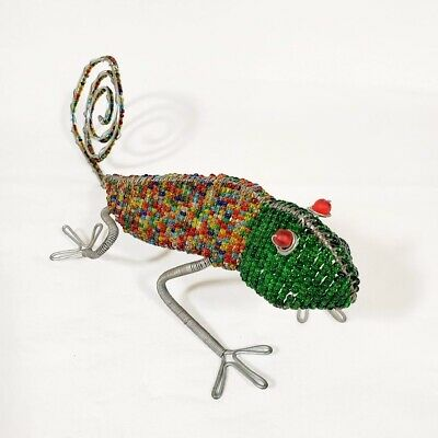 Beaded Wire Gecko Lizard Figurine Green Head w Multi Color Body