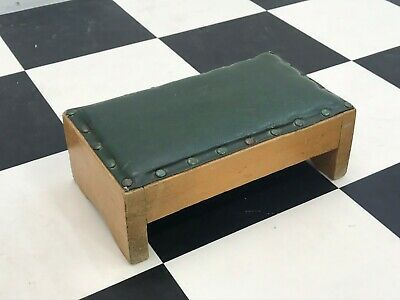 Vintage petite solid oak leather studded footrest footstool leg step gout stool