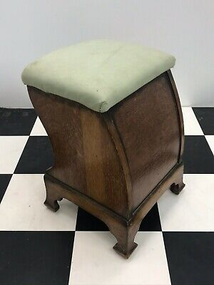 Antique oak dressing table / piano stool footstool foot leg rest art deco padded