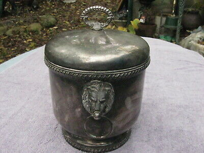 Vintage SHEFFIELD Silver Plated Ceramic Lined ICE BUCKET with Lion Head Handles