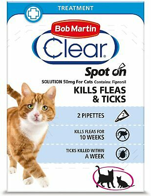 Bob Martin Clear Flea & Tick Clear Fipronil for Cat  Spot on Solution 2 Tubes