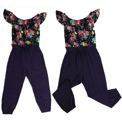 Kids Girls Floral Sleeveless Jumpsuit Playsuit Summer Romper Long Pants Overall