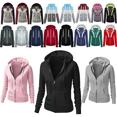 Womens Girls Long Sleeve Zip Up Sweatshirt Hoodie Outwear Sweats Jackets Casual