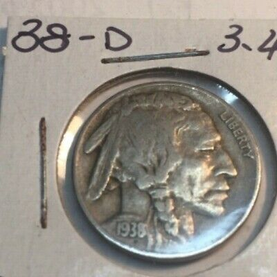 1938-d buffalo nickel very good or better no reserve