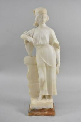 Carved Italian Marble Figural Woman with Vase Statue