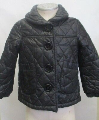 H&M Girls Quilted Jacket Coat Size 4-5 Black