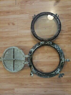17 inch /11 inch glass Brass Porthole with Steel Storm Security Hatch Cover