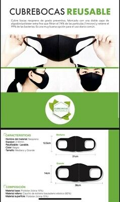 New neoprene protection masks. Washable. This listing is for SIX (6) pieces.