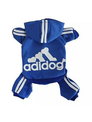 Adidog Small Dogs Puppys Apparel Warm Hoodie Clothing Jumpsuit Blue Size Small S