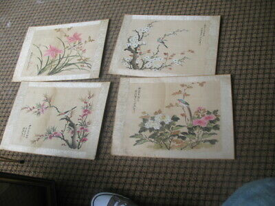 4 Unframed Japanese Paintings Silk Birds Flowers Signed As Found