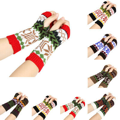 Warm Crochet Soft Fingerless Mittens Snowflake Arm Warmers Long Knitted Gloves