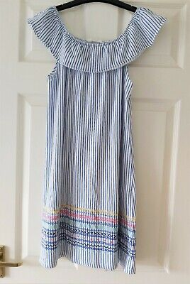 VGC Girls H&M stripe of the shoulders summer dress size 12-14 Years