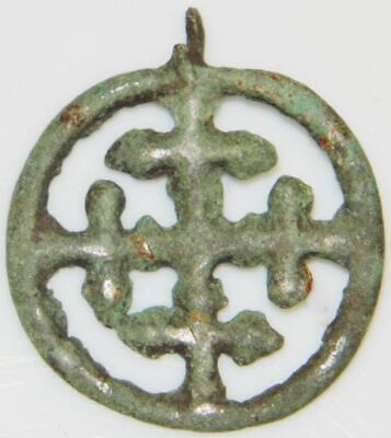 Medieval Bronze Crusaders Cross in Wheel Ancient Christian Pendant Sun Amulet