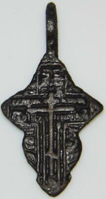 Fine Ancient Byzantine Bronze Cross Holy Medal Pendant ca.1400 Medieval Orthodox
