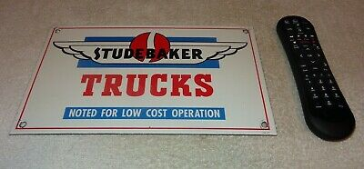 "Vintage Studebaker Car & Trucks Service 12"" Porcelain Metal Gasoline & Oil Sign!"