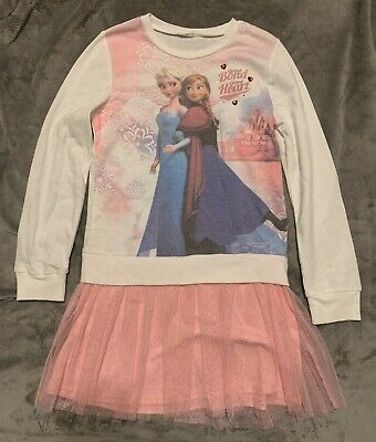$40 Disney Girls Frozen Elsa & Anna White Pink Long Sleeve Tulle Dress Size 7 8