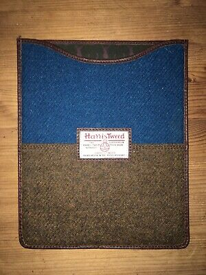 Harris Tweed IPad, Tablet, Kindle Case Cover -Blue and Brown - Perfect condition