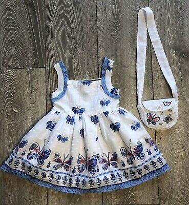 George Girls Butterfly Broderie Anglais Dress & Bag Set Cotton Age 1-1 1/2 Years