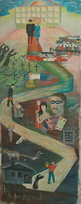 Vintage large abstract surrealist oil painting figures