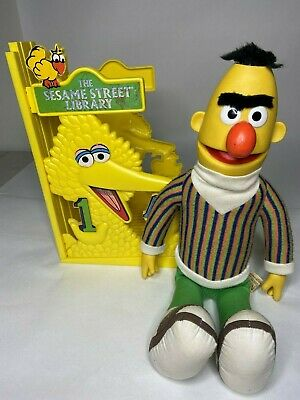 Vintage Applause Bert Doll & The Sesame Street Library Book Display Big Bird