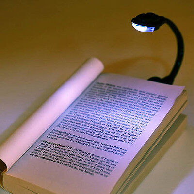 EY_ Rakish Mini White LED Clip Booklight Portable Travel Book Reading Light Lamp