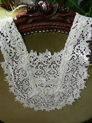 Lady's Antique Vintage Hand Made Lace Modesty Panel Jabot Collar
