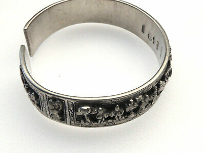 Antique Chinese Silver Wedding Storyteller Bracelet Hallmarked Signed Many Marks