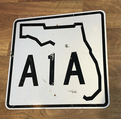 "Florida A1A Road Highway Authentic Metal Sign Decommissioned DOT Sign 24""x24"""