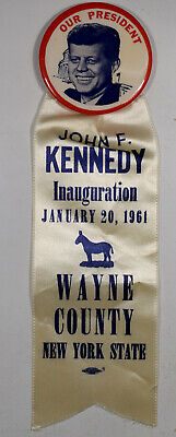 "1961 2-1/4"" Jfk Inaugural Button Scarce Wayne County Ny - Mint!"