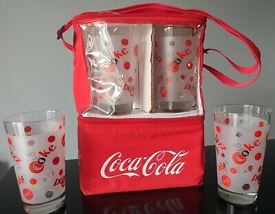 Vintage Set Of 4 Vintage Coca Cola Pop Fizz Ah! Frosted Glasses/ Tumblers New In